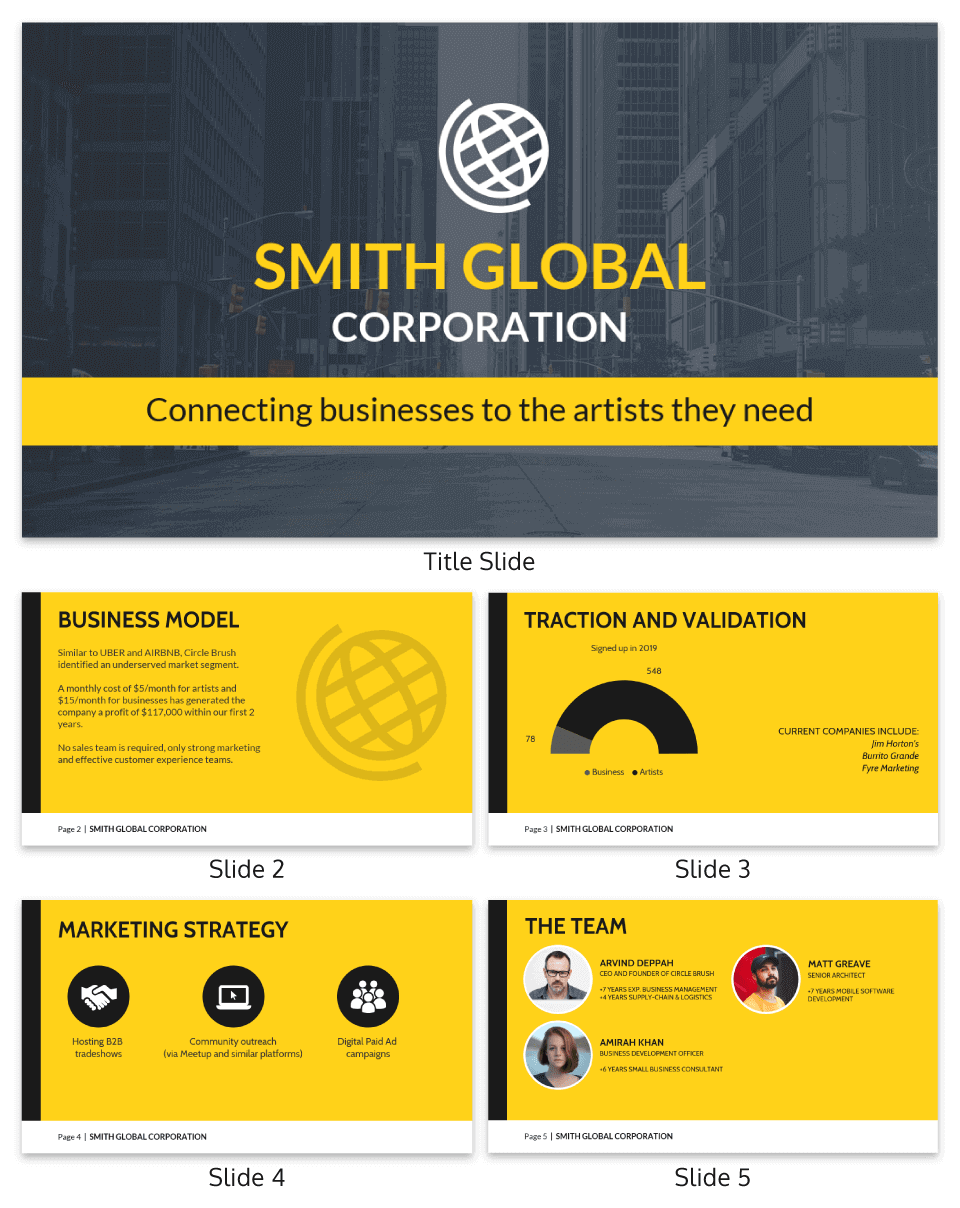Global Corporation Pitch Deck Template