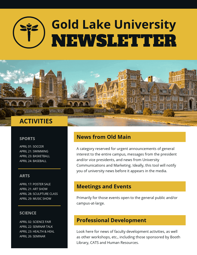 Gold University Newsletter Template