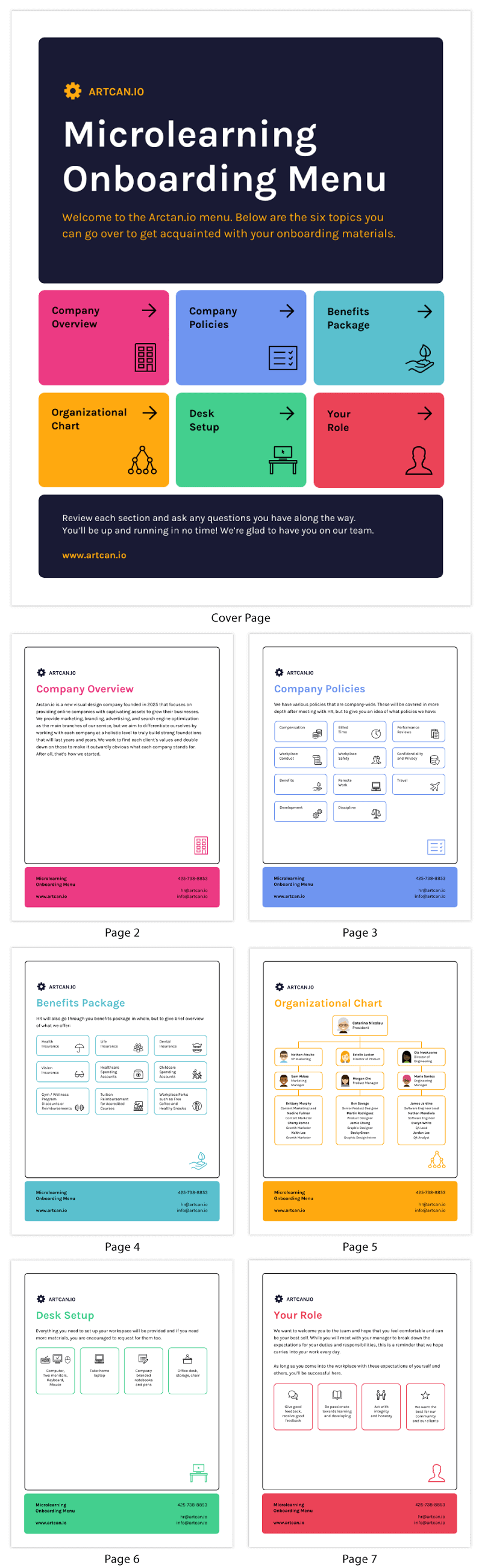 Microlearning Onboarding Menu Materials Template