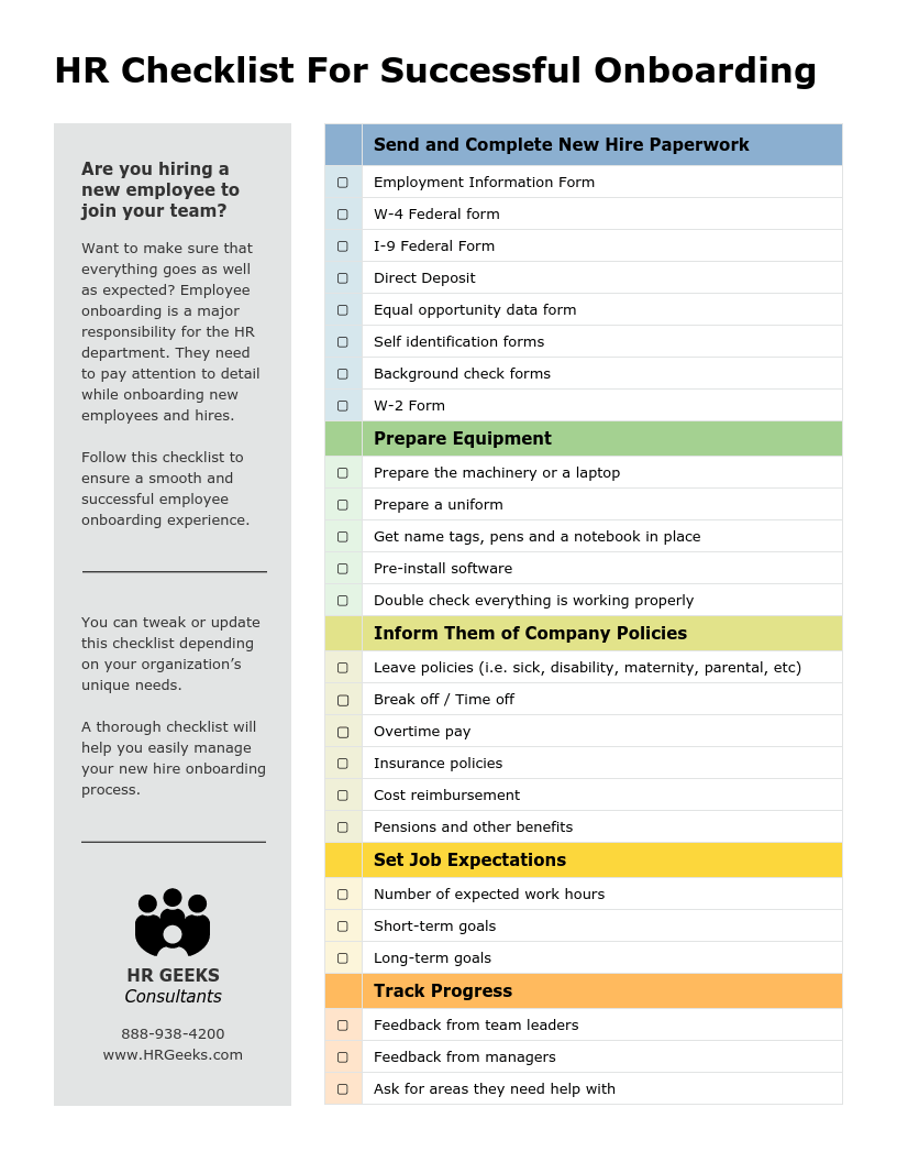 New Hire Onboarding HR Checklist Template